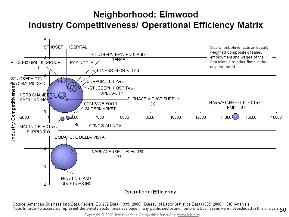 Copyright © 2002 Initiative for a Competitive Inner City (www.icic.org). 80 Neighborhood: Elmwood Industry Competitiveness/ Operational Efficiency Mat