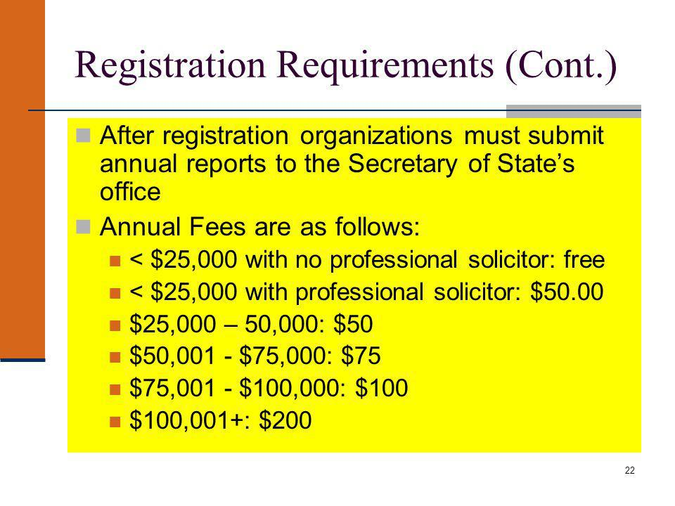 22 Registration Requirements (Cont.) After registration organizations must submit annual reports to the Secretary of States office Annual Fees are as follows: < $25,000 with no professional solicitor: free < $25,000 with professional solicitor: $50.00 $25,000 – 50,000: $50 $50,001 - $75,000: $75 $75,001 - $100,000: $100 $100,001+: $200