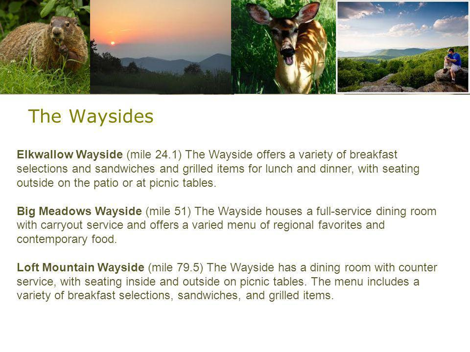 The Waysides Elkwallow Wayside (mile 24.1) The Wayside offers a variety of breakfast selections and sandwiches and grilled items for lunch and dinner, with seating outside on the patio or at picnic tables.