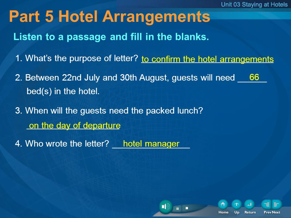 Part 5 Hotel Arrangements Listen to a passage and fill in the blanks. 1. Whats the purpose of letter? ___________________________ 2. Between 22nd July
