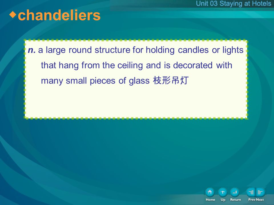 chandeliers n. a large round structure for holding candles or lights that hang from the ceiling and is decorated with many small pieces of glass