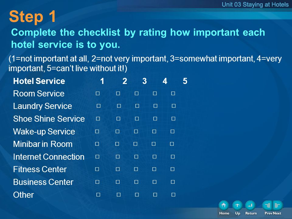 Step 1 Complete the checklist by rating how important each hotel service is to you. (1=not important at all, 2=not very important, 3=somewhat importan