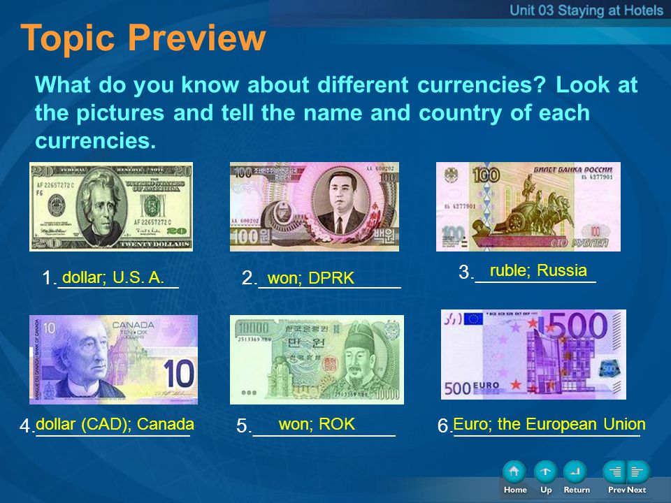 Topic Preview What do you know about different currencies? Look at the pictures and tell the name and country of each currencies. 1.___________ 3.____