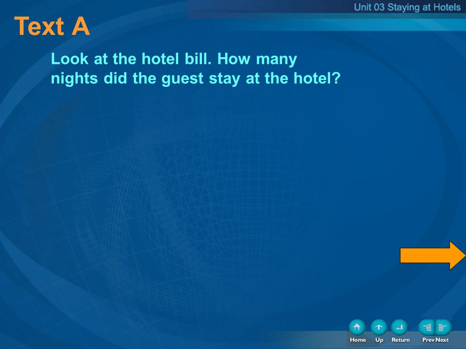 Text A Look at the hotel bill. How many nights did the guest stay at the hotel?