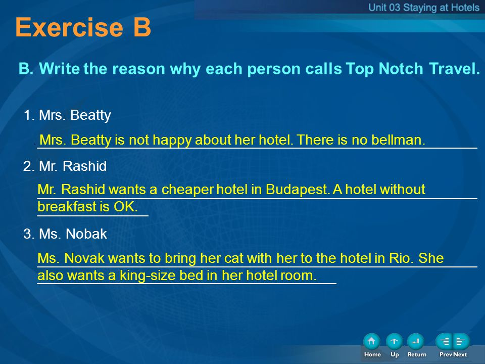 Step 1 Complete the checklist by rating how important each hotel service is to you.