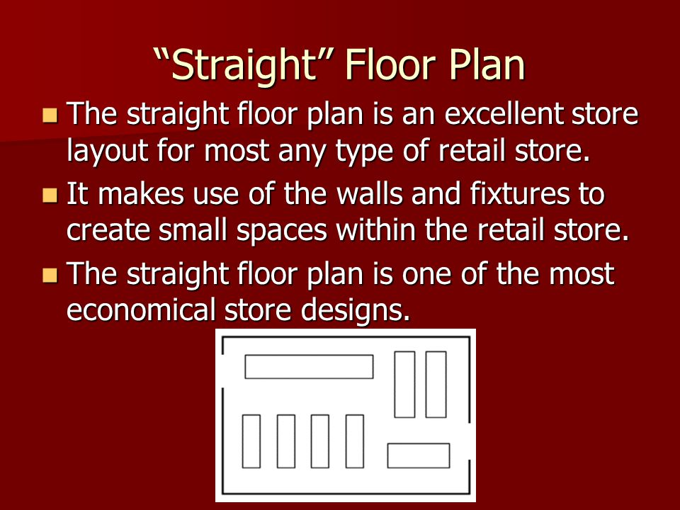 Straight Floor Plan The straight floor plan is an excellent store layout for most any type of retail store.