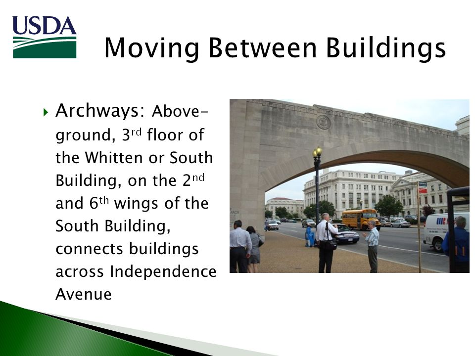 Archways: Above- ground, 3 rd floor of the Whitten or South Building, on the 2 nd and 6 th wings of the South Building, connects buildings across Inde