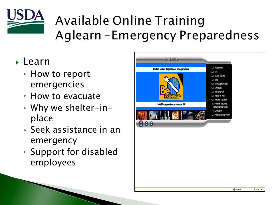 Learn How to report emergencies How to evacuate Why we shelter-in- place Seek assistance in an emergency Support for disabled employees