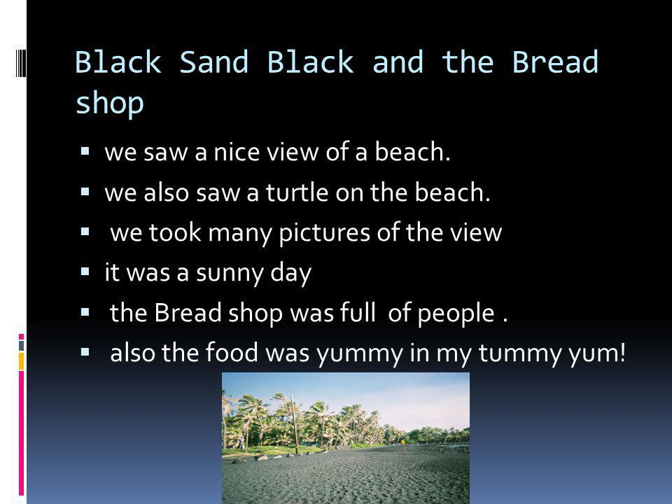 Black Sand Black and the Bread shop we saw a nice view of a beach.