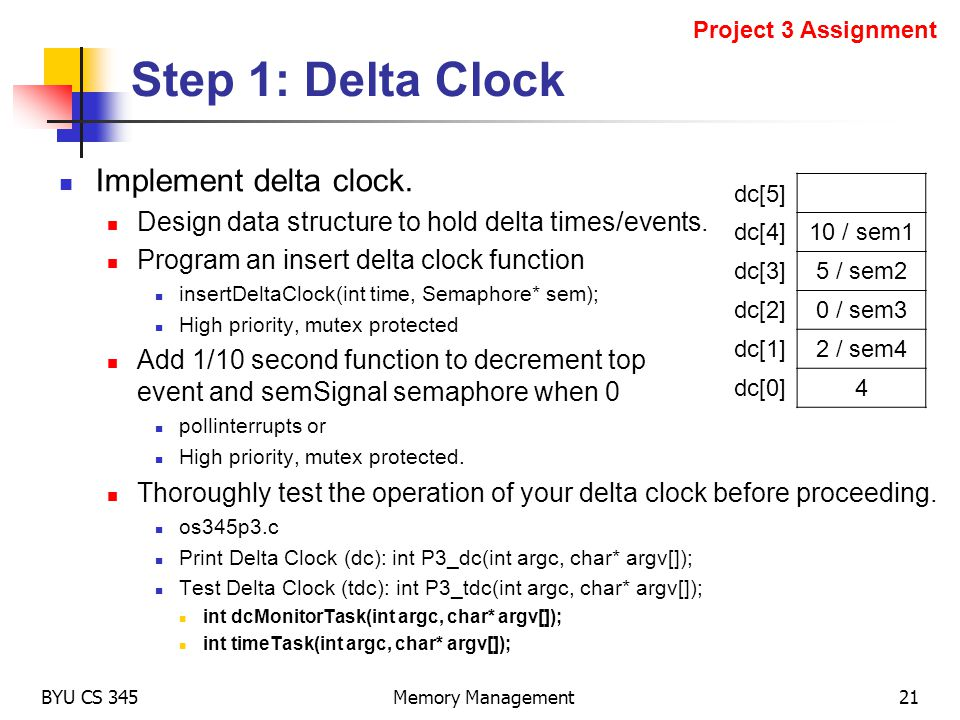 Step 1: Delta Clock Implement delta clock. Design data structure to hold delta times/events. Program an insert delta clock function insertDeltaClock(i