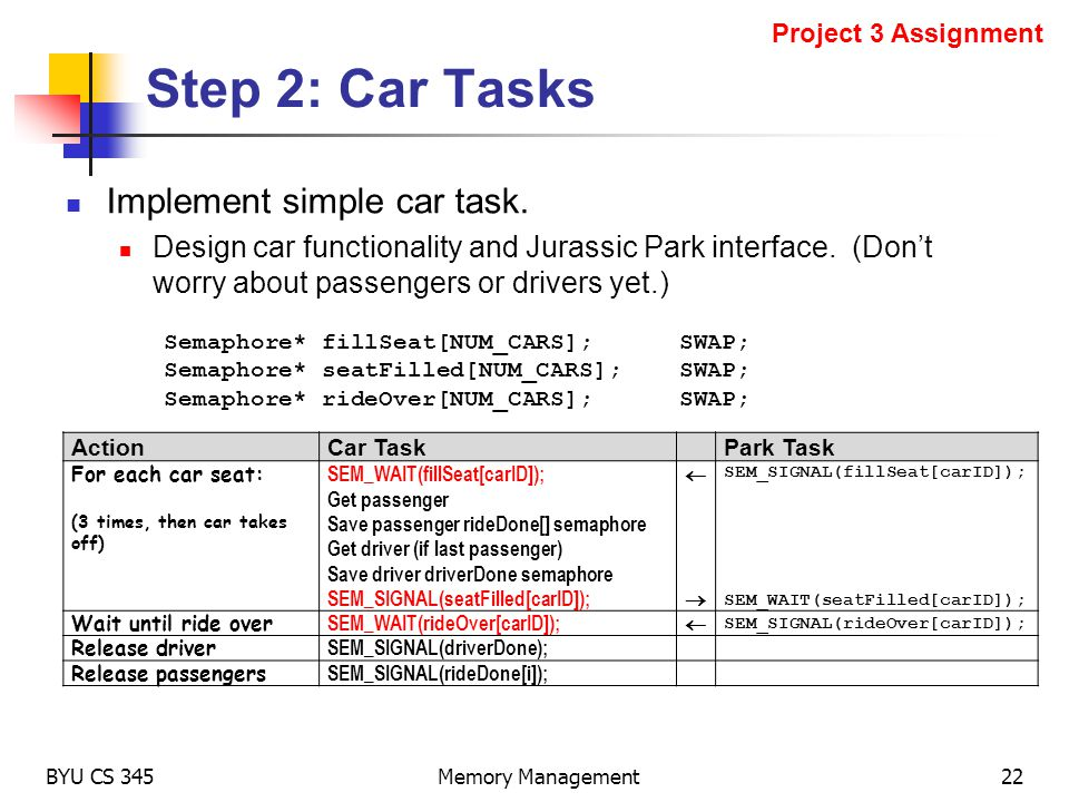 Step 2: Car Tasks Implement simple car task. Design car functionality and Jurassic Park interface. (Dont worry about passengers or drivers yet.) BYU C