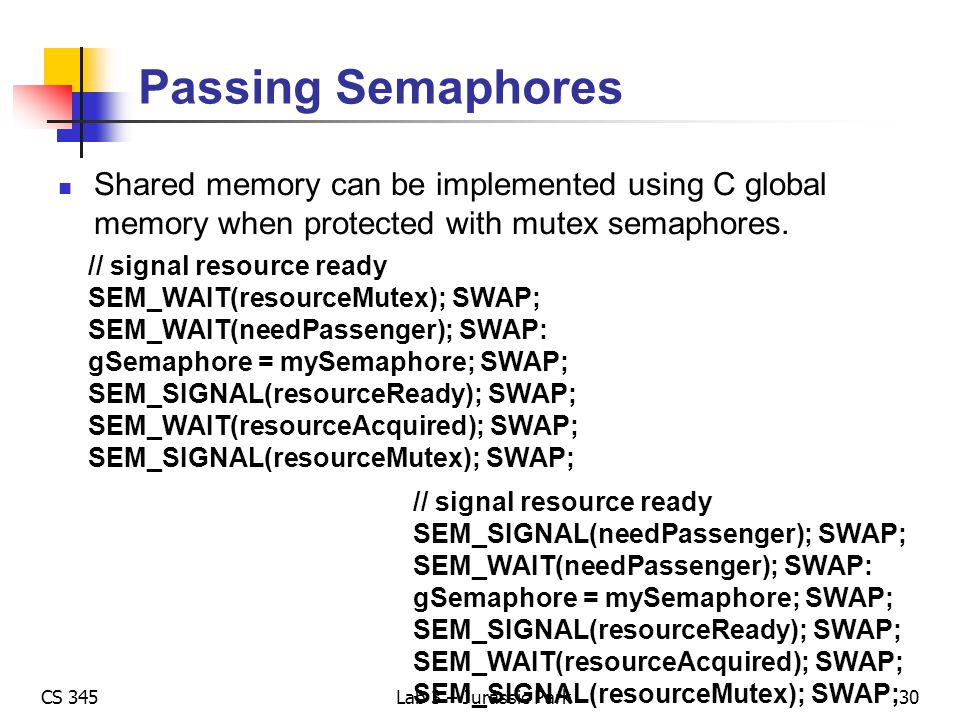 CS 345Lab 3 – Jurassic Park Passing Semaphores Shared memory can be implemented using C global memory when protected with mutex semaphores. // signal
