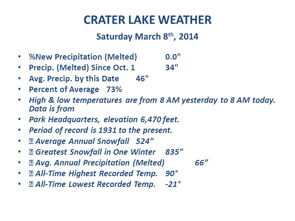 CRATER LAKE WEATHER Saturday March 8 th, 2014 %New Precipitation (Melted) 0.0