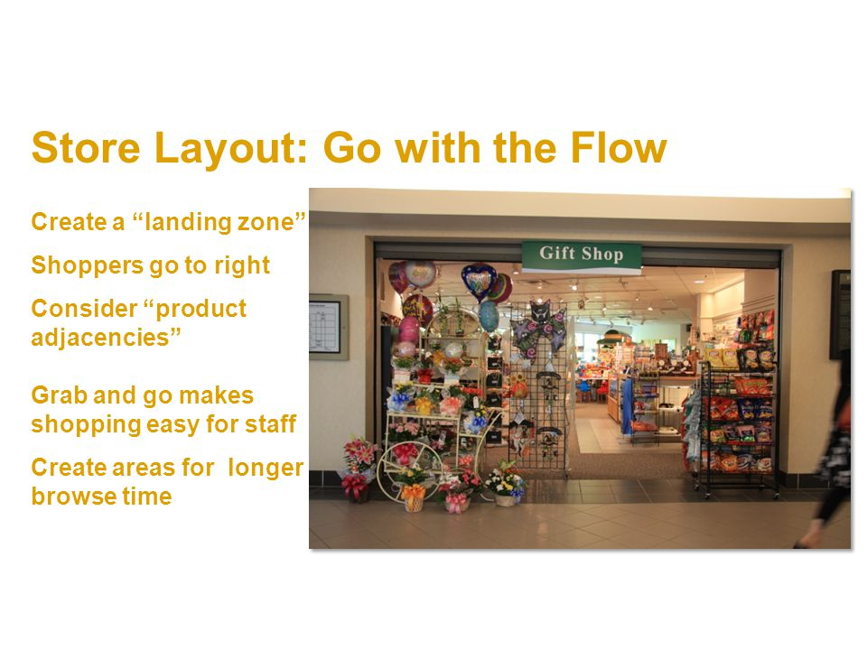 Store Layout: Go with the Flow Create a landing zone Shoppers go to right Consider product adjacencies Grab and go makes shopping easy for staff Create areas for longer browse time