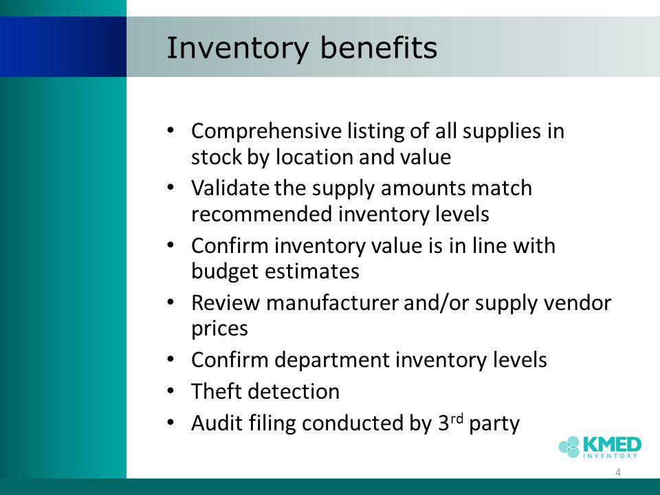 Area x Mfg x Desc Report 15 Provides a comprehensive area- level perspective of the inventory data, but still includes pertinent details like item descriptions and manufacturers