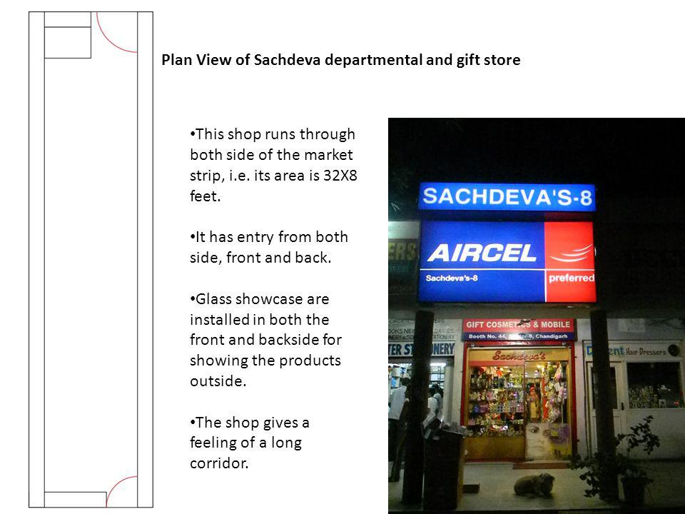 Plan View of Sachdeva departmental and gift store This shop runs through both side of the market strip, i.e. its area is 32X8 feet. It has entry from