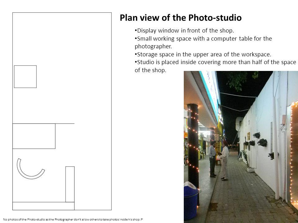 Plan View of a Dry Cleaner shop A semi-store room is created in the backside.