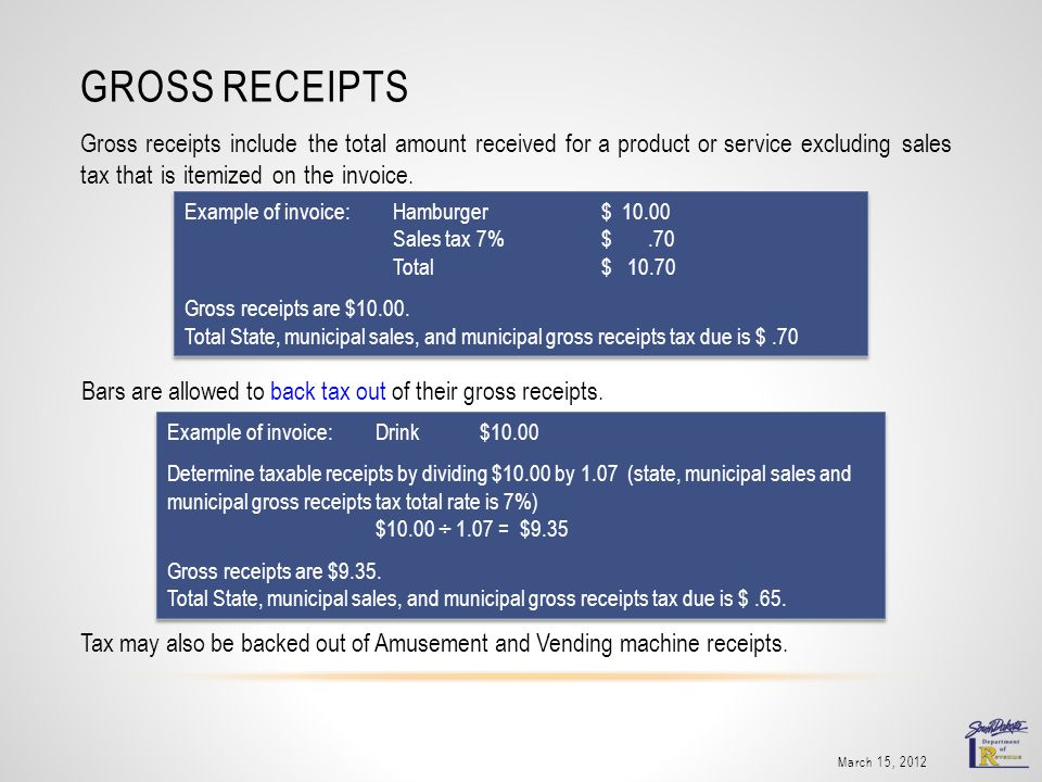 GROSS RECEIPTS Gross receipts include the total amount received for a product or service excluding sales tax that is itemized on the invoice. March 15