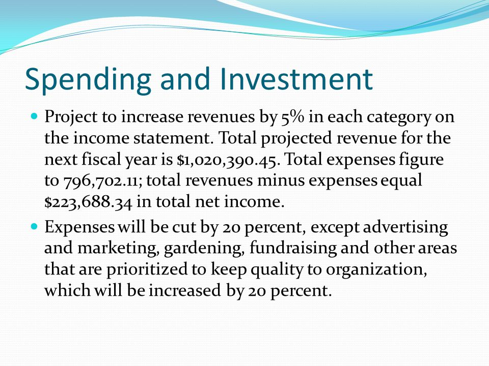 Spending and Investment Project to increase revenues by 5% in each category on the income statement. Total projected revenue for the next fiscal year
