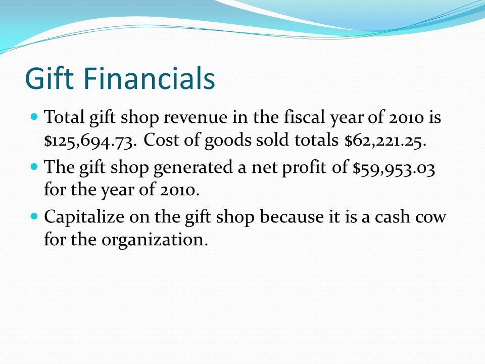 Gift Financials Total gift shop revenue in the fiscal year of 2010 is $125,694.73. Cost of goods sold totals $62,221.25. The gift shop generated a net
