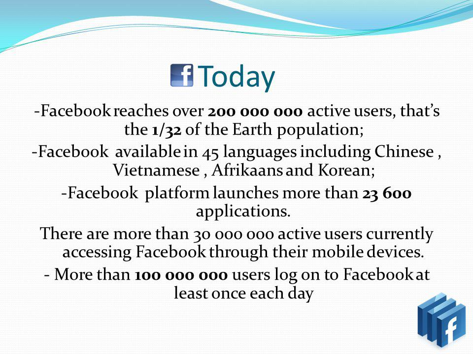 Today -Facebook reaches over 200 000 000 active users, thats the 1/32 of the Earth population; -Facebook available in 45 languages including Chinese, Vietnamese, Afrikaans and Korean; -Facebook platform launches more than 23 600 applications.