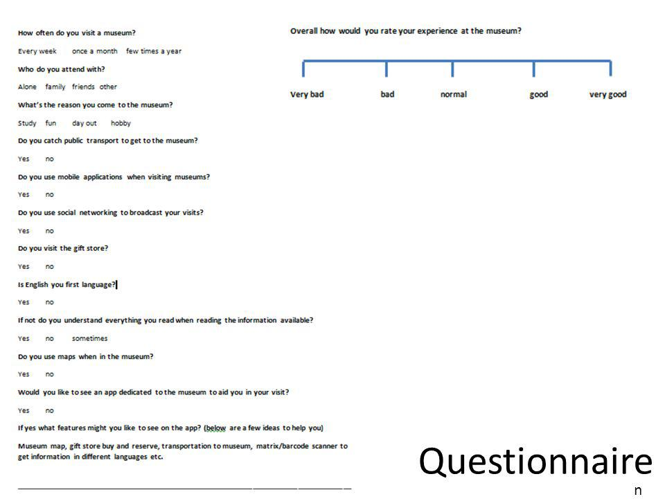 Questionnaire analysis QUser1User2User3User4User5User6User7User8 Q1 Few times a year Once a month Few times a year Every week Few times a year Once a month Few times a year Q2Family Friends Family Friends Q3Day outFunDay outFunStudyDay out Fun Q4No Yes No Q5NoYesNo YesNoYes Q6Yes No Yes Q7Yes NoYesNo Q8Yes NoYes No Q9sometimes Q10Yes Q11Yes Q12 Interactive map Interactive storeRoute planner Read on the go Different Lang Offline articles Interactive map Different Lang Q13Very goodGoodVery goodNormalVery goodGood Normal M