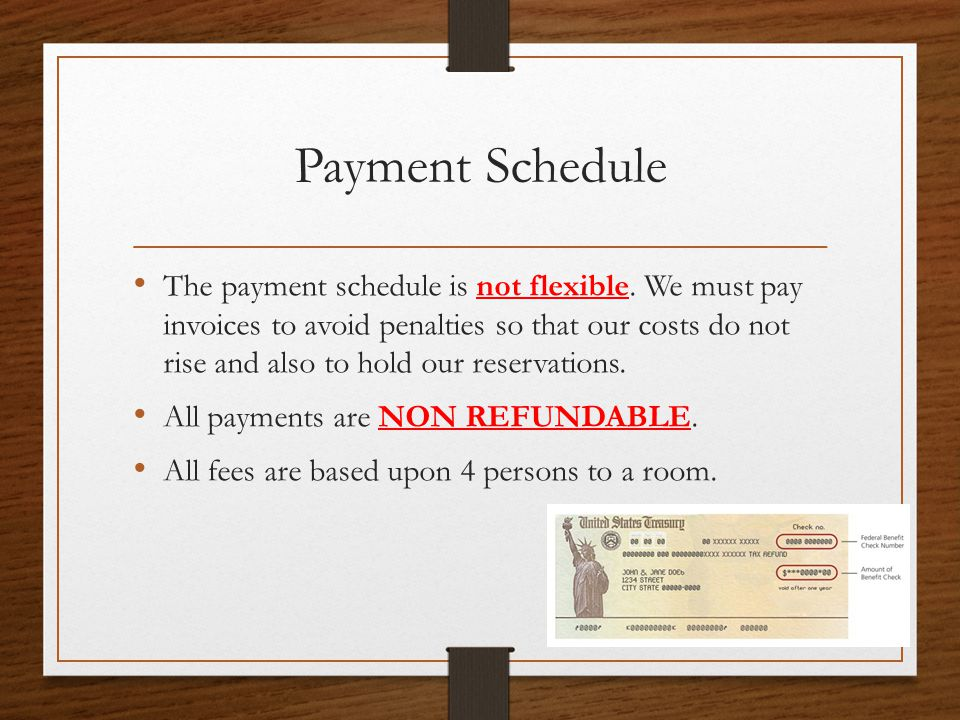 Payment Schedule The payment schedule is not flexible. We must pay invoices to avoid penalties so that our costs do not rise and also to hold our rese