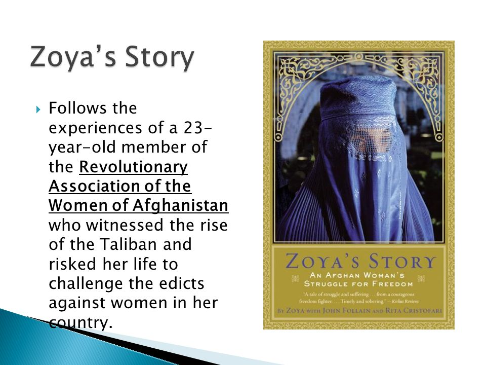 Follows the experiences of a 23- year-old member of the Revolutionary Association of the Women of Afghanistan who witnessed the rise of the Taliban and risked her life to challenge the edicts against women in her country.