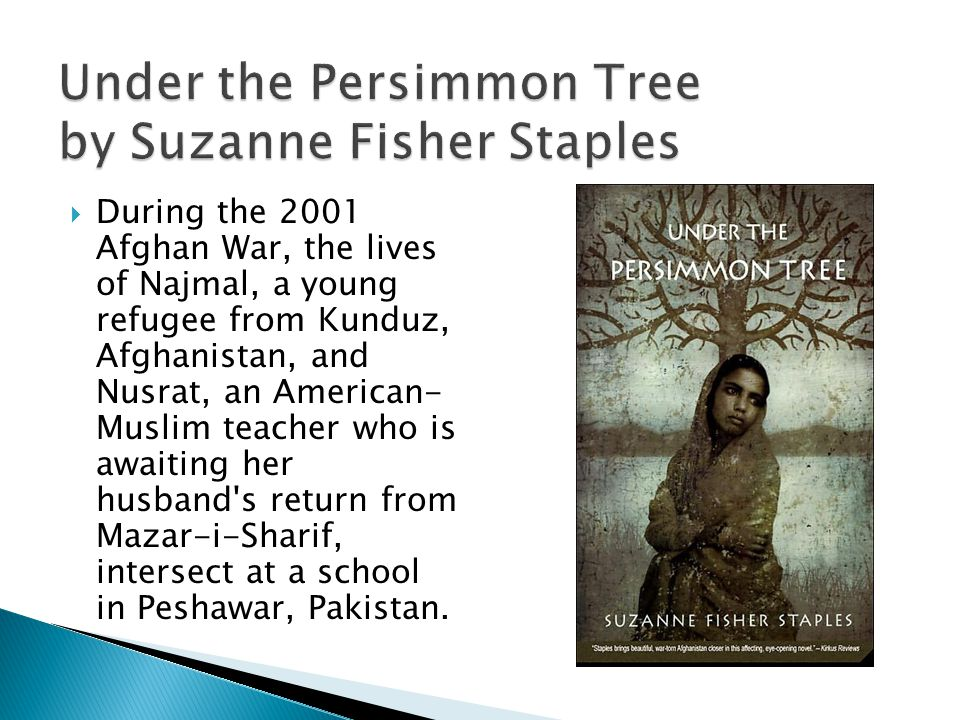Under the Persimmon Tree by Suzanne Fisher Staples During the 2001 Afghan War, the lives of Najmal, a young refugee from Kunduz, Afghanistan, and Nusrat, an American- Muslim teacher who is awaiting her husband s return from Mazar-i-Sharif, intersect at a school in Peshawar, Pakistan.
