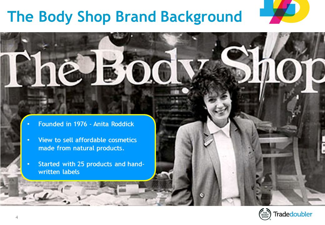 4 The Body Shop Brand Background Founded in 1976 - Anita Roddick View to sell affordable cosmetics made from natural products. Started with 25 product