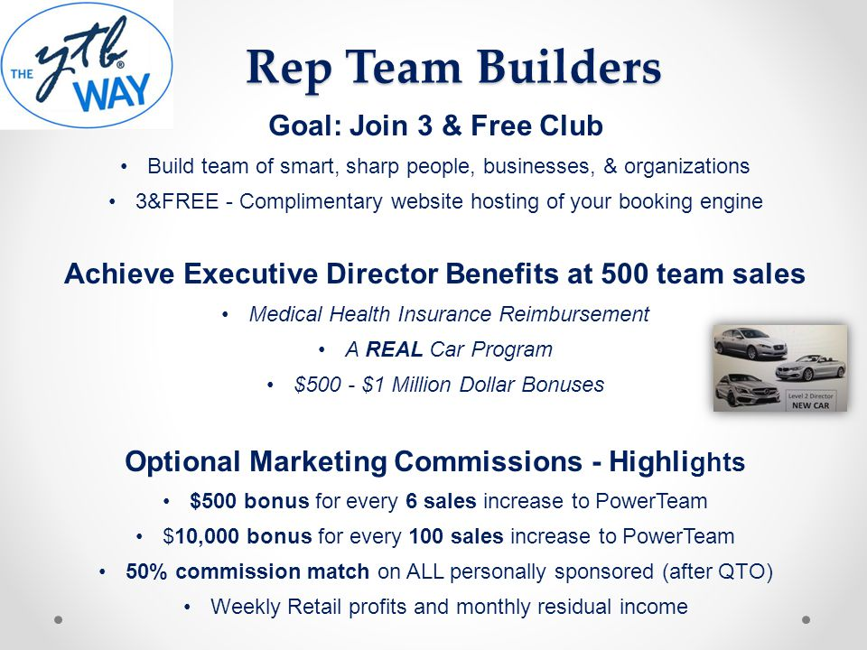 Goal: Join 3 & Free Club Build team of smart, sharp people, businesses, & organizations 3&FREE - Complimentary website hosting of your booking engine