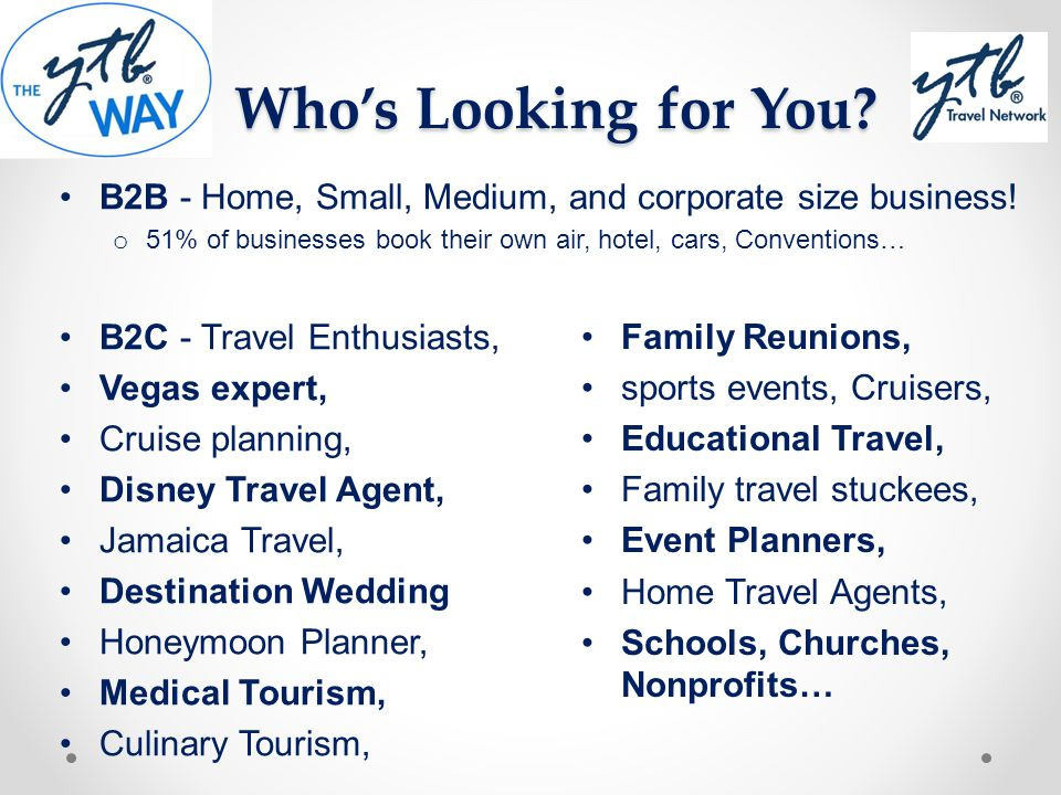 Whos Looking for You? B2B - Home, Small, Medium, and corporate size business! o 51% of businesses book their own air, hotel, cars, Conventions… B2C -