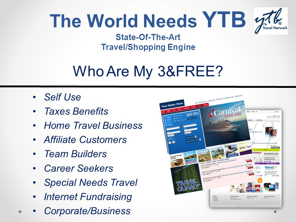 The World Needs YTB State-Of-The-Art Travel/Shopping Engine Who Are My 3&FREE? Self Use Taxes Benefits Home Travel Business Affiliate Customers Team B