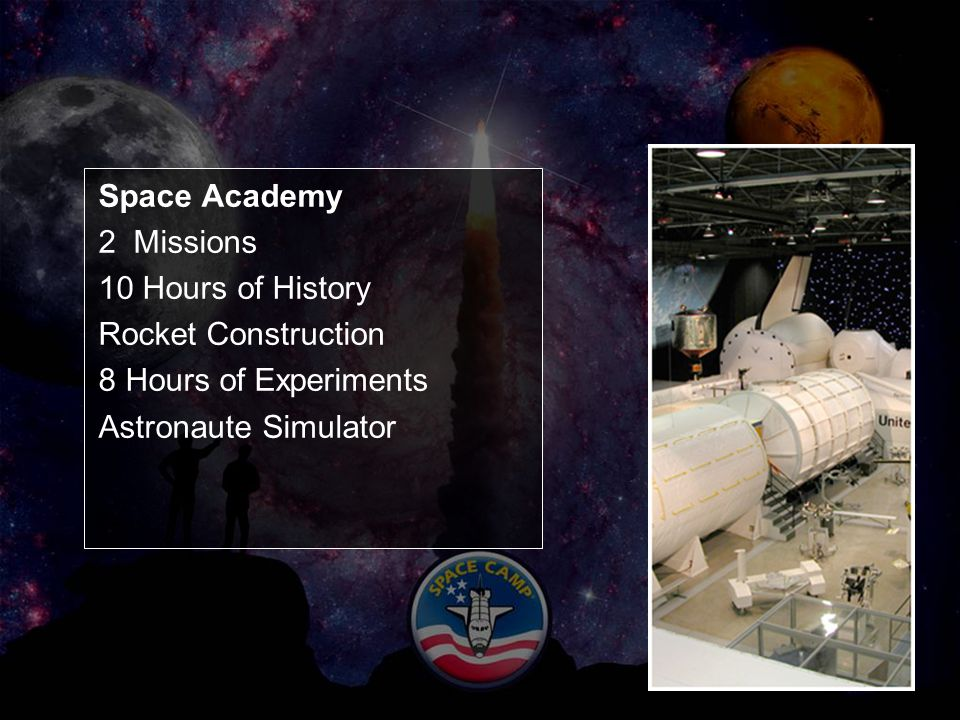 Space Academy 2 Missions 10 Hours of History Rocket Construction 8 Hours of Experiments Astronaute Simulator