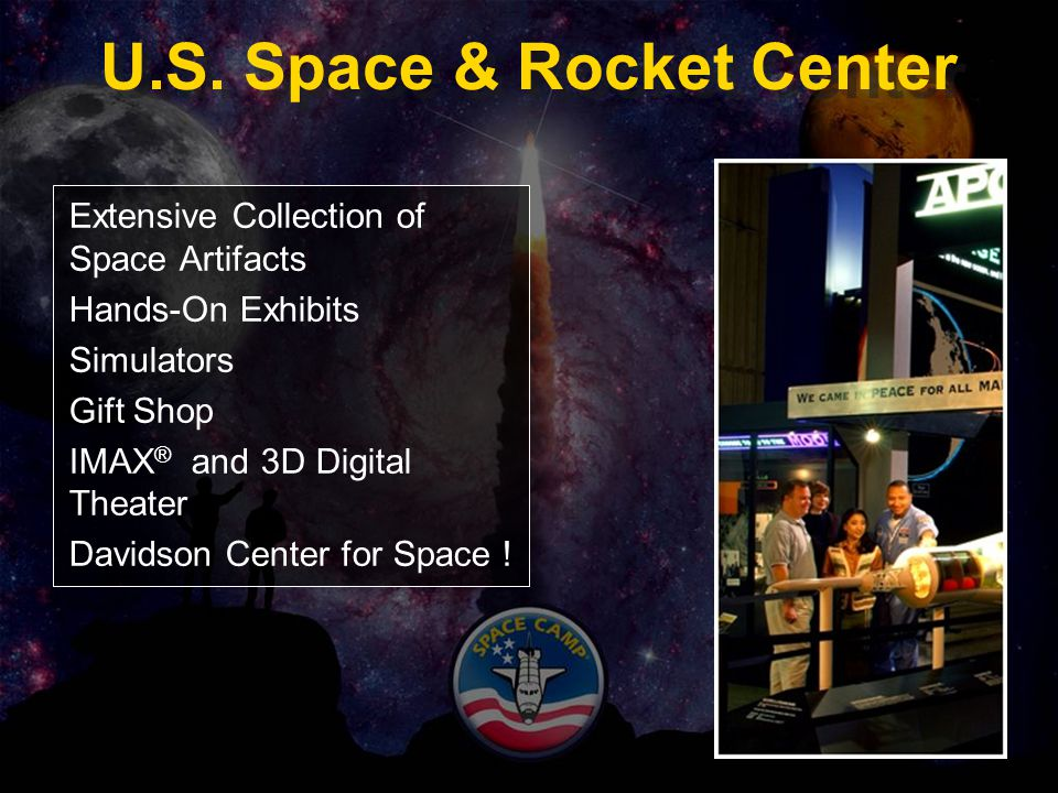 U.S. Space & Rocket Center Extensive Collection of Space Artifacts Hands-On Exhibits Simulators Gift Shop IMAX ® and 3D Digital Theater Davidson Cente