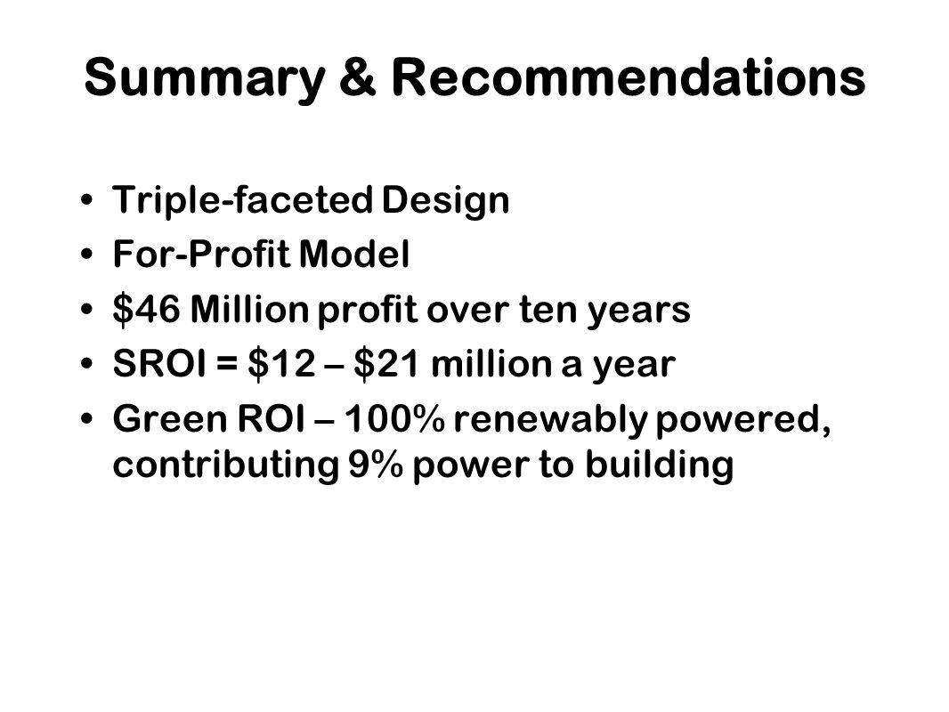 Triple-faceted Design For-Profit Model $46 Million profit over ten years SROI = $12 – $21 million a year Green ROI – 100% renewably powered, contributing 9% power to building Summary & Recommendations