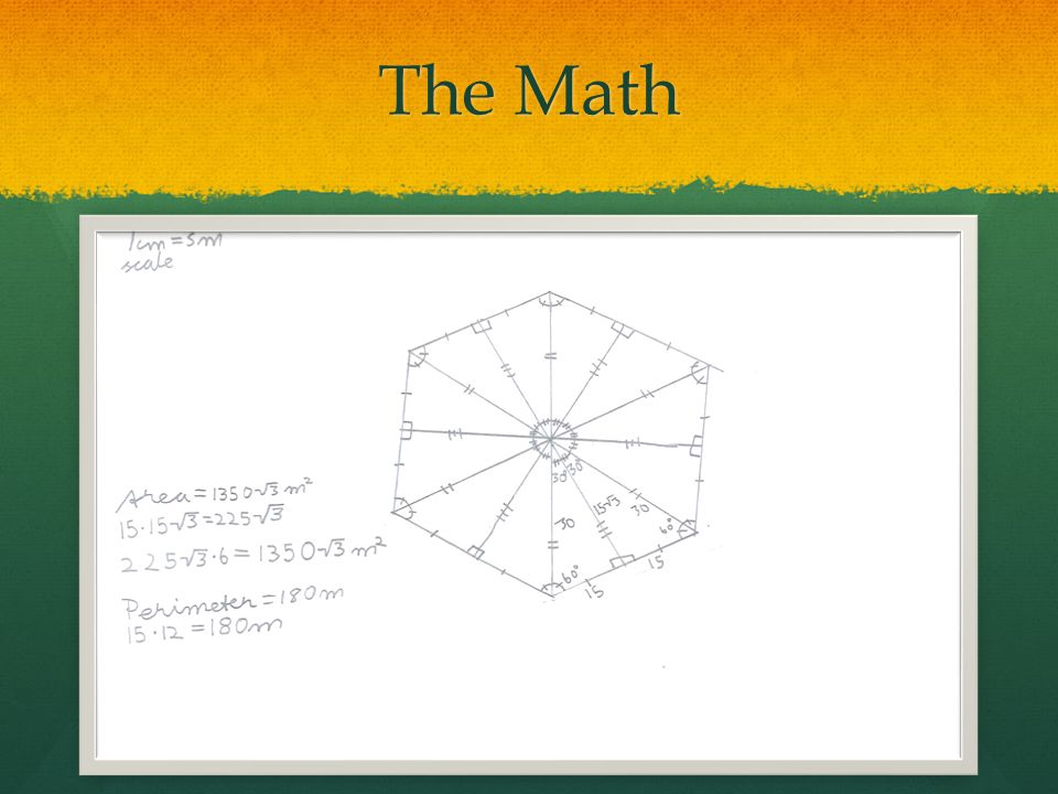 Math Explained The area of the base is about 2335.5 meters squared The area of the base is about 2335.5 meters squared First we found the area of each equilateral triangle and then multiplied it by 6 (the number of equilateral triangles in the figure).
