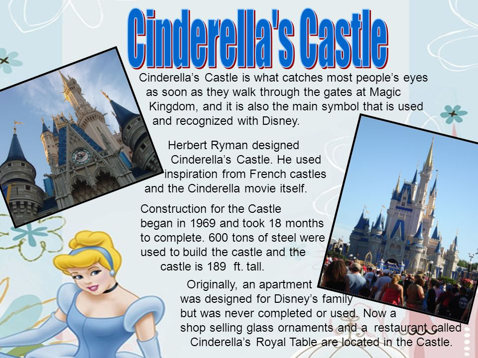 Cinderellas Castle is what catches most peoples eyes as soon as they walk through the gates at Magic Kingdom, and it is also the main symbol that is u