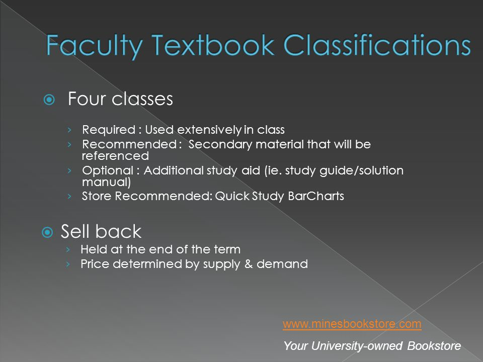 Four classes Required : Used extensively in class Recommended : Secondary material that will be referenced Optional : Additional study aid (ie.