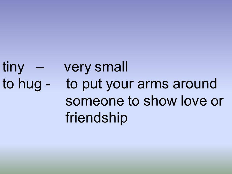 tiny – very small to hug - to put your arms around someone to show love or friendship