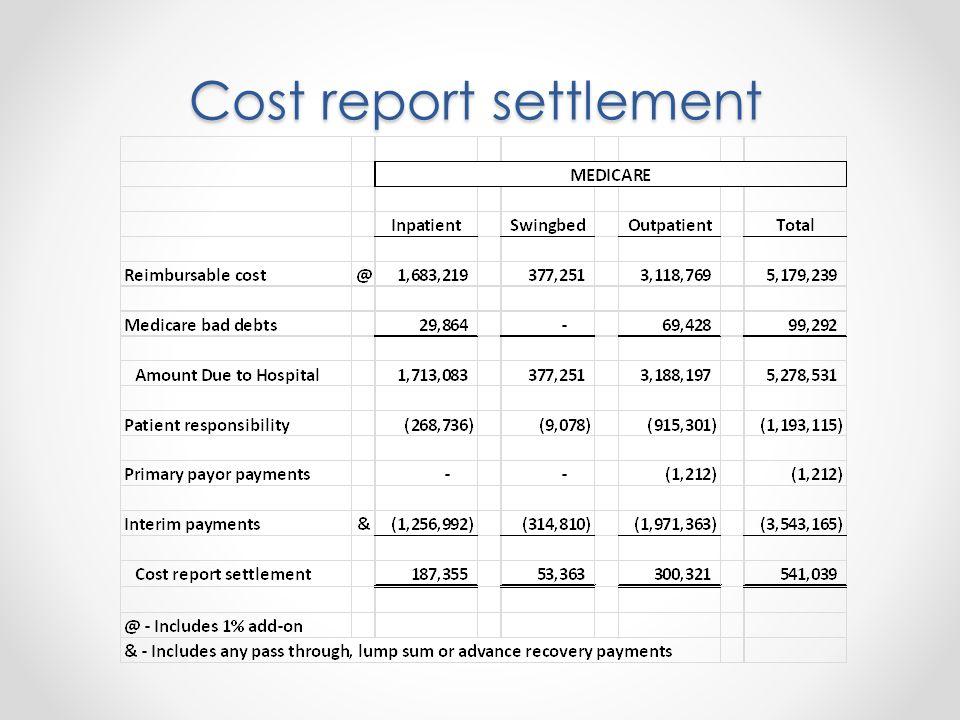 Cost report settlement