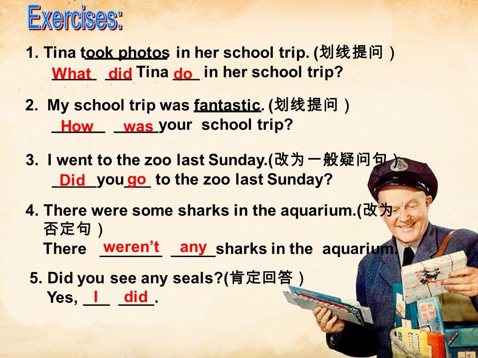 1.Tina took photos in her school trip. ( _____ ___ Tina ___ in her school trip? 2. My school trip was fantastic. ( ______ _____your school trip? 3. I