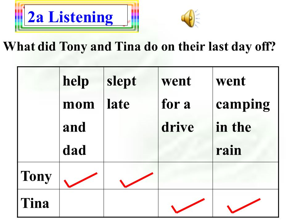 2a Listening helped mom and dad slept late went for a drive went camping in the rain Tony Tina What did Tony and Tina do on their last day off? Tony T
