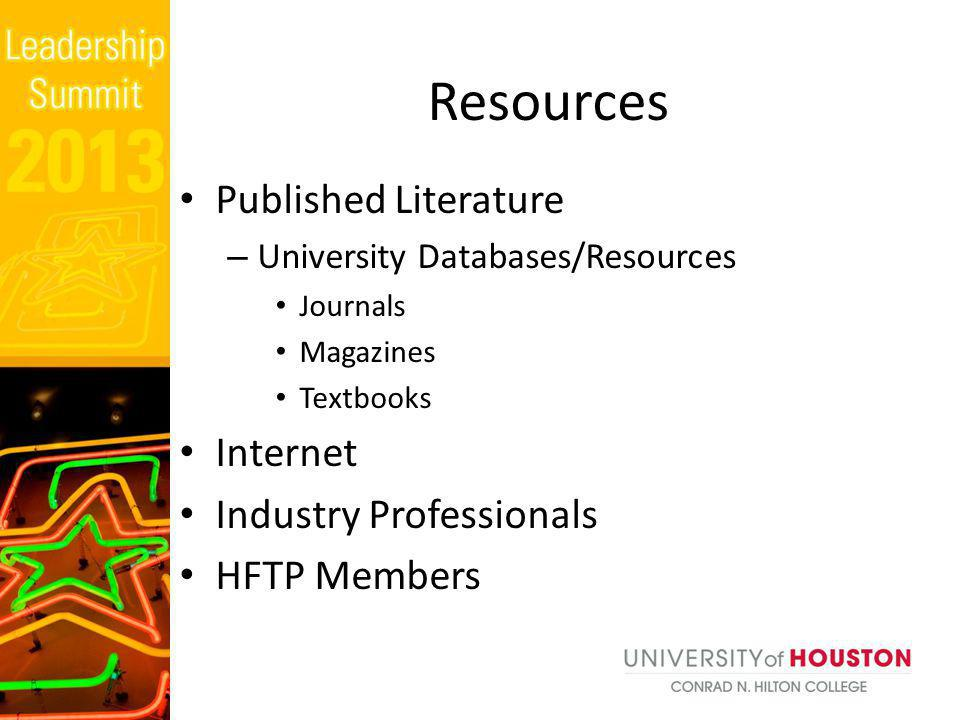 Published Literature – University Databases/Resources Journals Magazines Textbooks Internet Industry Professionals HFTP Members Resources
