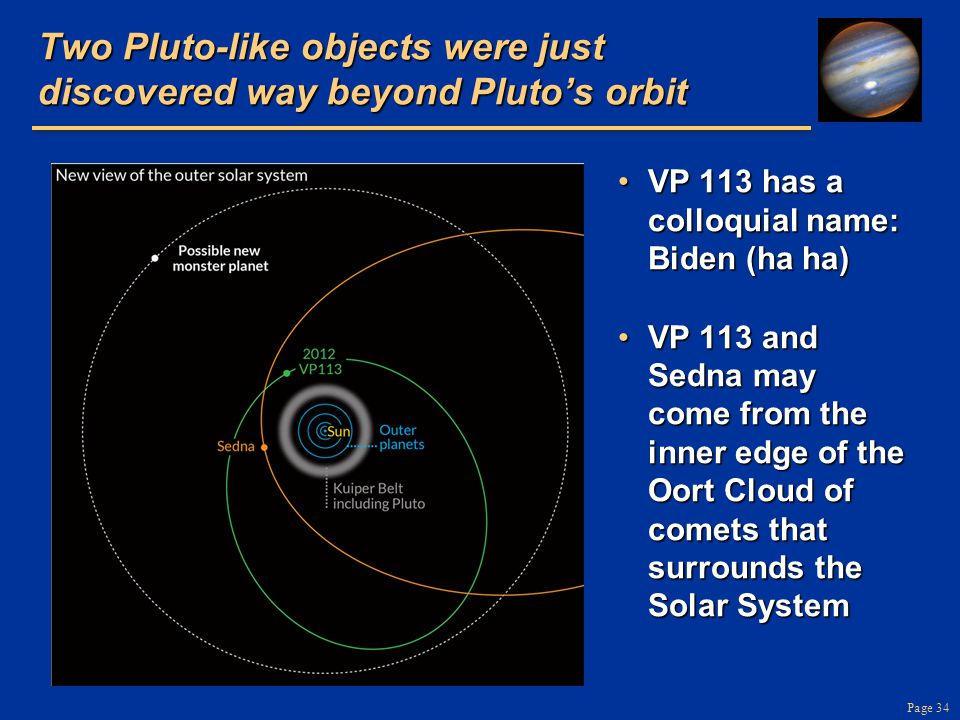 Page 34 Two Pluto-like objects were just discovered way beyond Plutos orbit VP 113 has a colloquial name: Biden (ha ha)VP 113 has a colloquial name: Biden (ha ha) VP 113 and Sedna may come from the inner edge of the Oort Cloud of comets that surrounds the Solar SystemVP 113 and Sedna may come from the inner edge of the Oort Cloud of comets that surrounds the Solar System