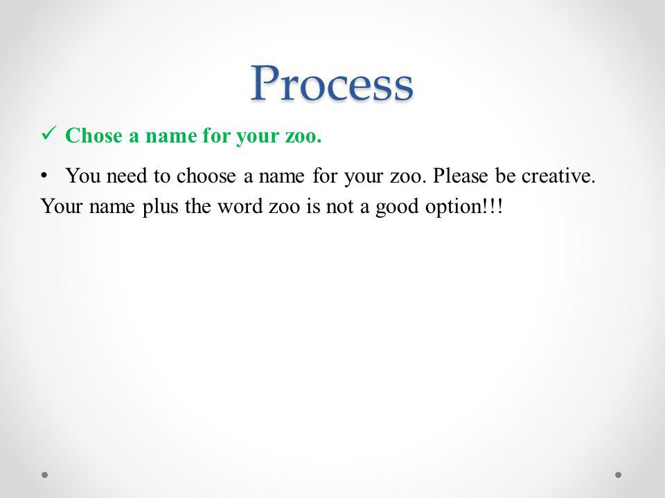 Process Chose a name for your zoo.You need to choose a name for your zoo.