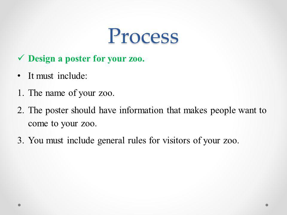 Process Design a poster for your zoo.It must include: 1.The name of your zoo.