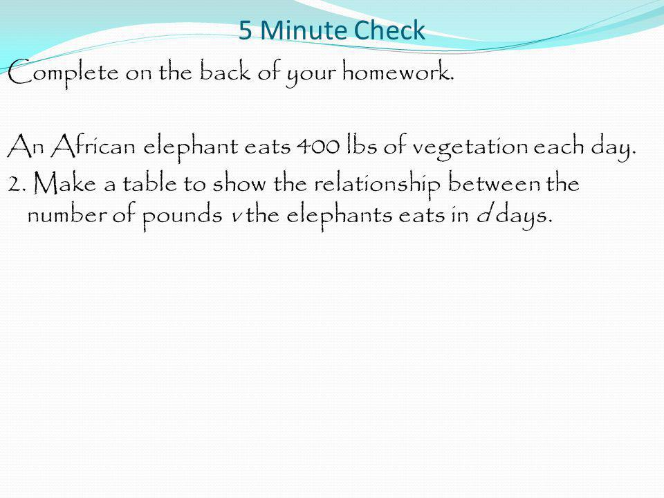 5 Minute Check Complete on the back of your homework. An African elephant eats 400 lbs of vegetation each day. 2. Make a table to show the relationshi
