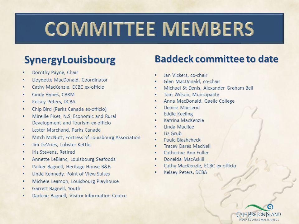 Baddeck committee to date Jan Vickers, co-chair Jan Vickers, co-chair Glen MacDonald, co-chair Glen MacDonald, co-chair Michael St-Denis, Alexander Gr