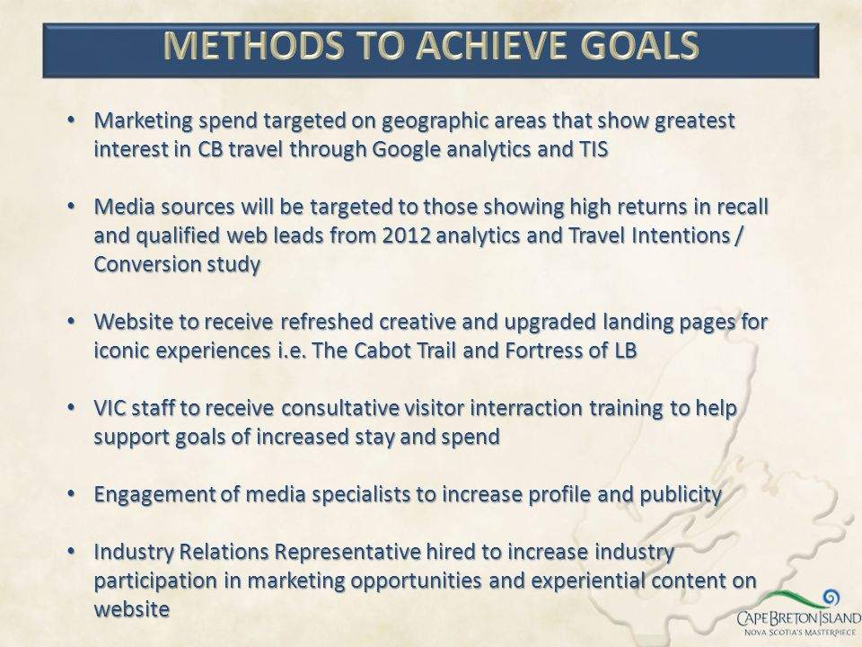 Marketing spend targeted on geographic areas that show greatest interest in CB travel through Google analytics and TIS Marketing spend targeted on geo